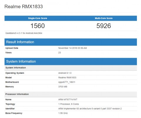 Realme RMX1833 with Helio P60 visits Geekbench