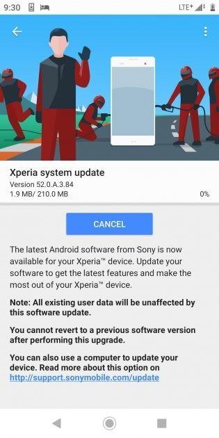 Screenshots from the System update menu
