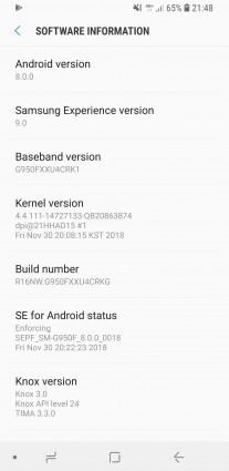 Samsung Galaxy S8 update info