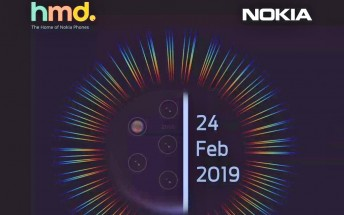 Nokia MWC event teasers showcase a mysterious punch hole selfie phone, along with the Nokia 9