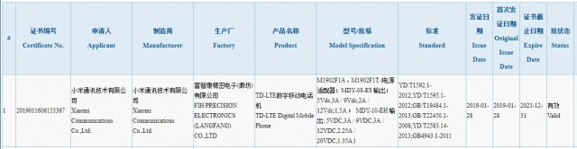 Xiaomi M1902F1A/M1902F1T certification