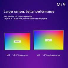 The Mi 9 has a larger, higher resolution sensor compared to the Mi 8