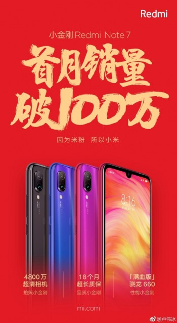 Redmi Note 7 reaches 1 million sales in its first month