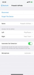 AirPods settings under iOS