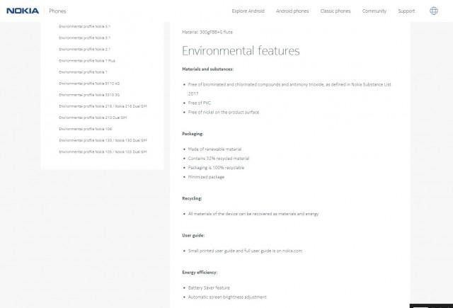 Nokia 5.1 environmental profile