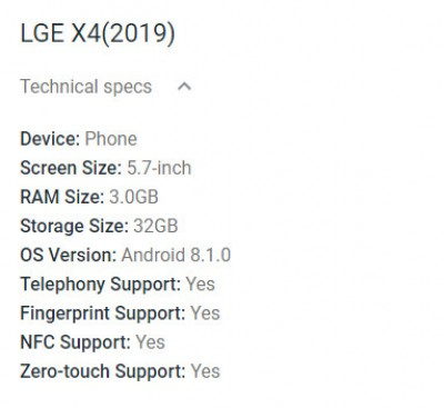 LG X4 (2019) specs appear, runs Android 8 1 Oreo - GSMArena