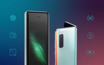 Samsung Galaxy Fold infographic describes the phone's front, back and inside