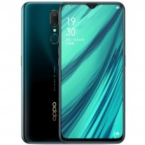 Oppo A9 in Mica Green, Ice Jade White, and Fluorite Purple colors