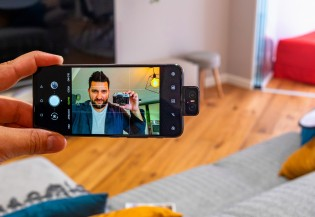 The flip-up camera is a space saving measure, but it makes for awesome selfies too