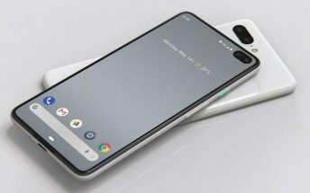 Google Pixel 4 screen protector shows dual punch hole selfie camera