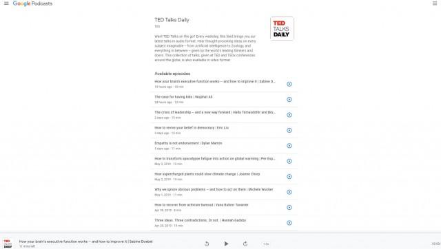 Google Podcasts on desktop