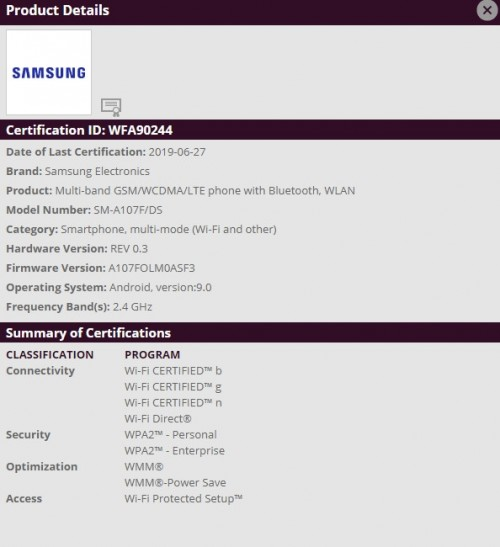 Samsung Galaxy A10s gets WiFi certified, launch imminent