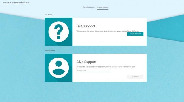 Chrome Remote Desktop Support page