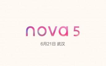 Huawei nova 5 arriving on June 21