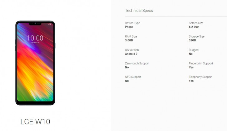LG W10 specs leak through Android Enterprise listing, India launch imminent