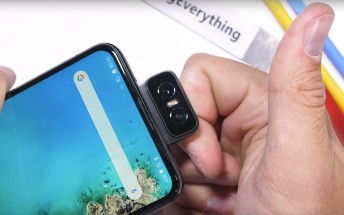 Asus Zenfone 6's flip up selfie camera gets banged and twisted, survives