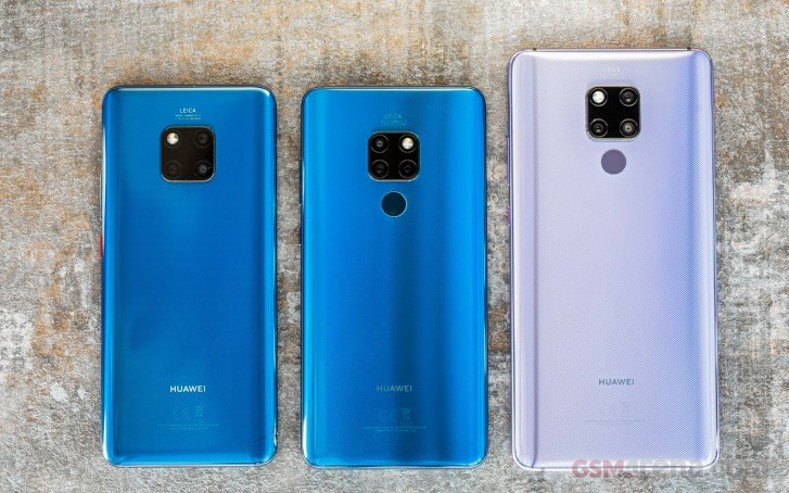 (from left to right) Huawei Mate 20 Pro, Mate 20, and Mate 20 X