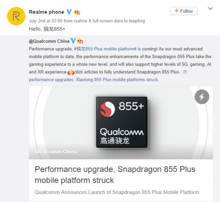 Realme hints at using Snapdragon 855 Plus in upcoming phone