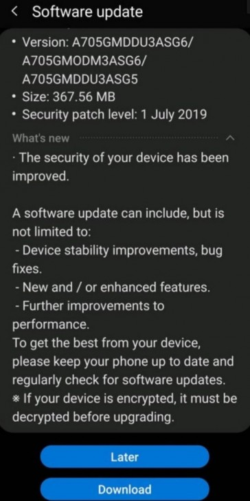 Samsung Galaxy A70 gets Night Mode and July security patch with latest update
