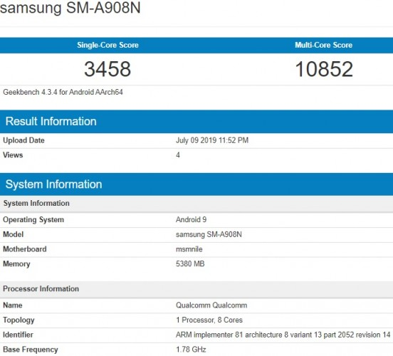 Samsung Galaxy A90 5G passes through Geekbench with Snapdragon 855 SoC