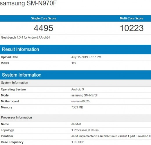 Samsung Galaxy Note10 visits Geekbench