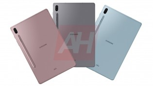 Samsung Galaxy Tab S6 in Pink, Grey, and Blue colors