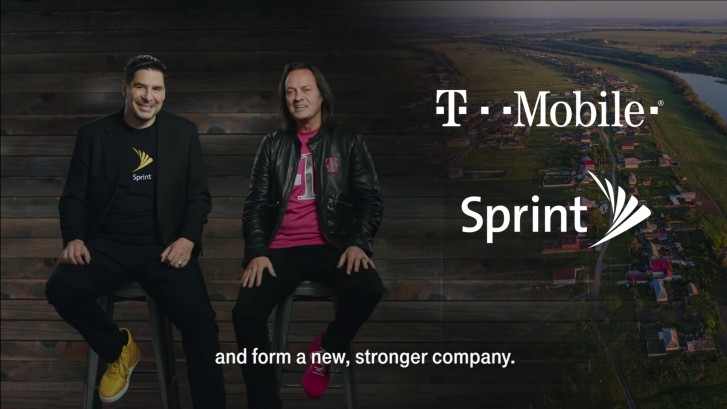 Sprint CEO, Marcelo Claure and T-Mobile CEO, John Legere during the carriers' announcmenet to merge in April 2018.