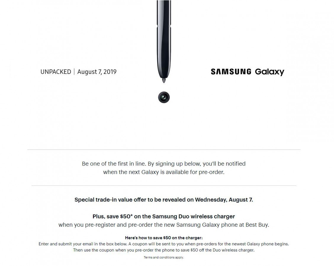 Best Buy Opens Samsung Galaxy Note10 Registrations Will Offer 50 Off Samsung Duo Wireless Charger Gsmarena Com News