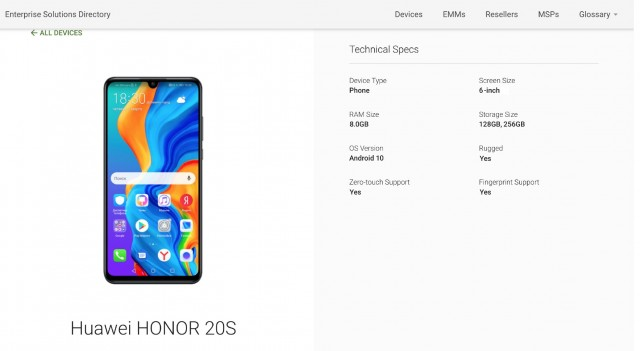 Honor 20S Google Play Console listing