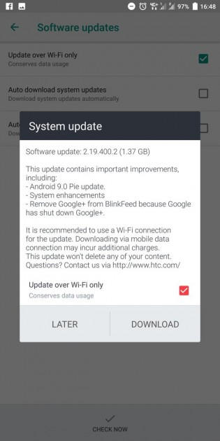 HTC U11+ Android Pie update
