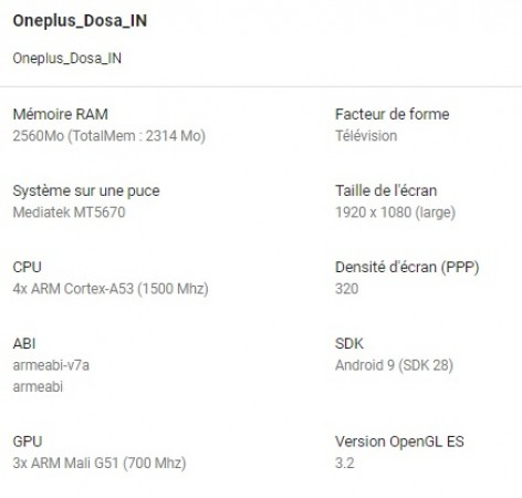 OnePlus TV specs surface, Android Pie and 3GB RAM in tow