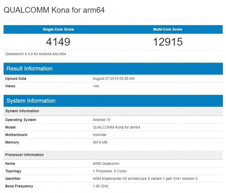 Qualcomm 'Kona' Snapdragon 865 shows up on Geekbench