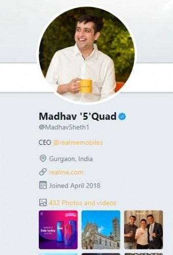 Madhav Sheth changes his Twitter name to Madhav '5' Quad