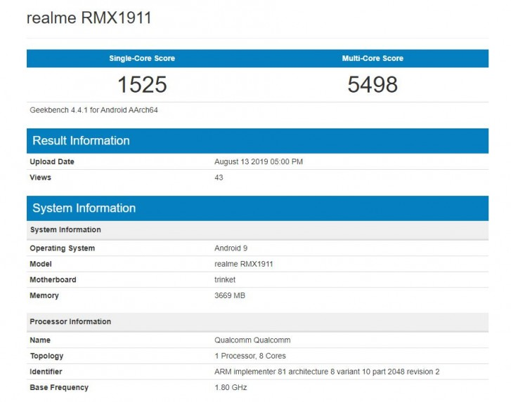 Realme 5 visits Geekbench with Snapdragon 665 and 4GB RAM
