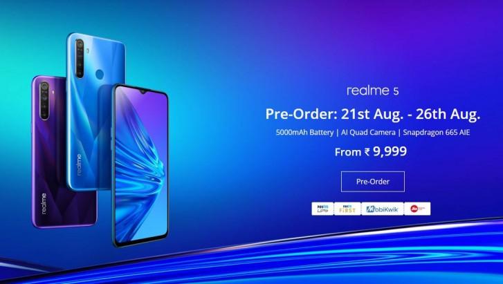 Realme 5 pre-order goes live in India