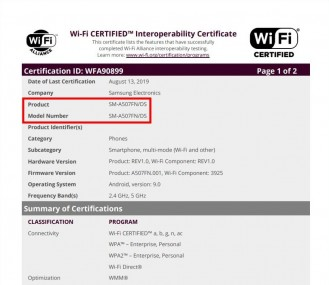 Samsung Galaxy A30s and A50s Wi-Fi certifications