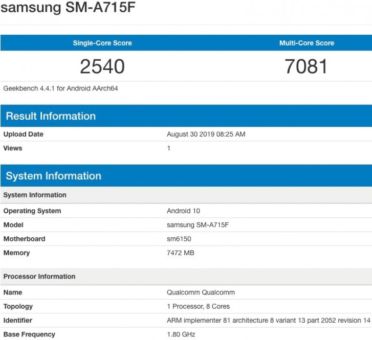 Samsung Galaxy A71 pops up on Geekbench