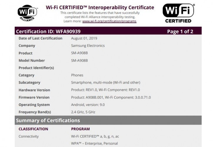 Samsung Galaxy A90 5G passes by Wi-Fi Alliance