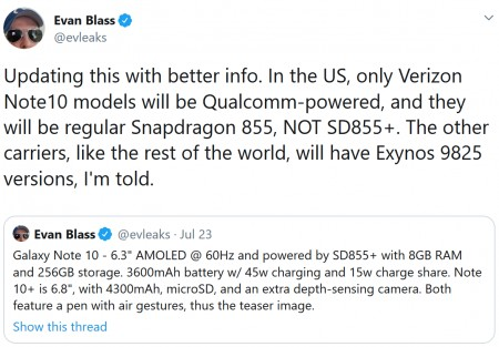 Samsung Galaxy Note10 devices in the US might come with Exynos chipsets