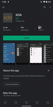 Google Play Store's new dark mode