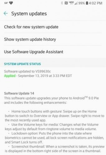 Verizon's LG V30 starts receiving Android Pie update