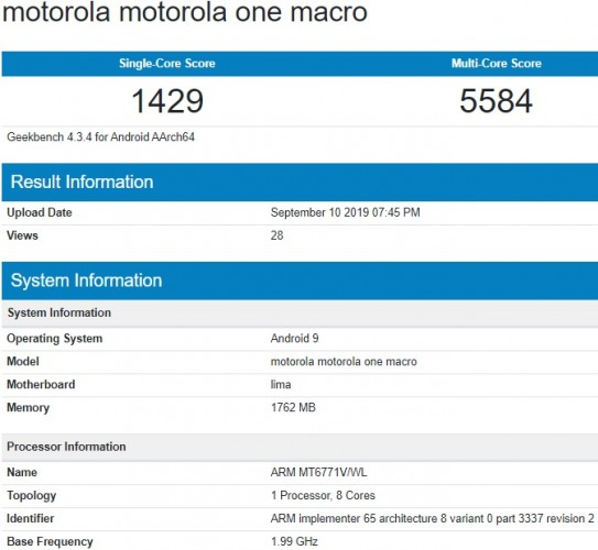 Motorola One Macro passes through Geekbench, live image surfaces