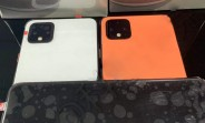 Pixel 4 photographed in three colors: Black, White and Coral