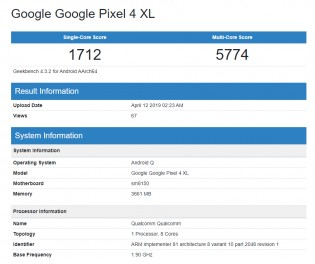 Geekbench results: Pixel 4 XL