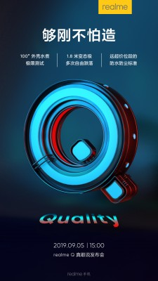 The Realme Q will be water and drop resistant (IP68 and MIL-STD-810G, perhaps?)