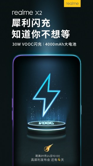 Realme X2 will come with a 4,000 mAh battery supporting VOOC Flash Charge 4.0