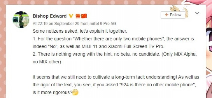 The post by the Xiaomi executive, translated with Google Translate