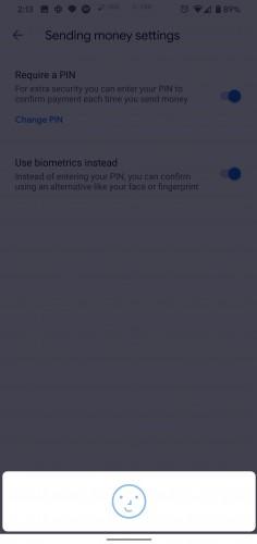 Google Pay version 2.100 biometric options