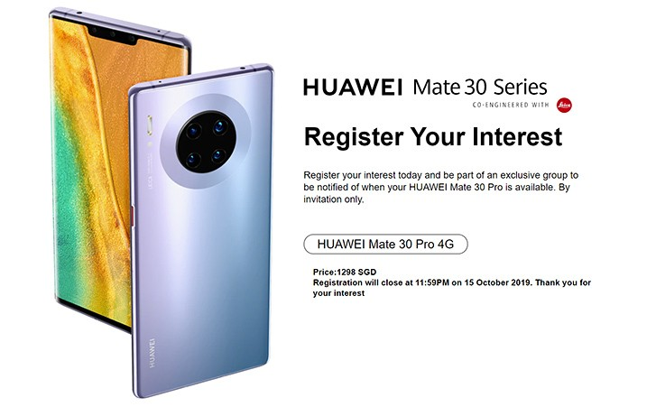 Huawei Mate 30 Pro will have a limiter release in Singapore later this month