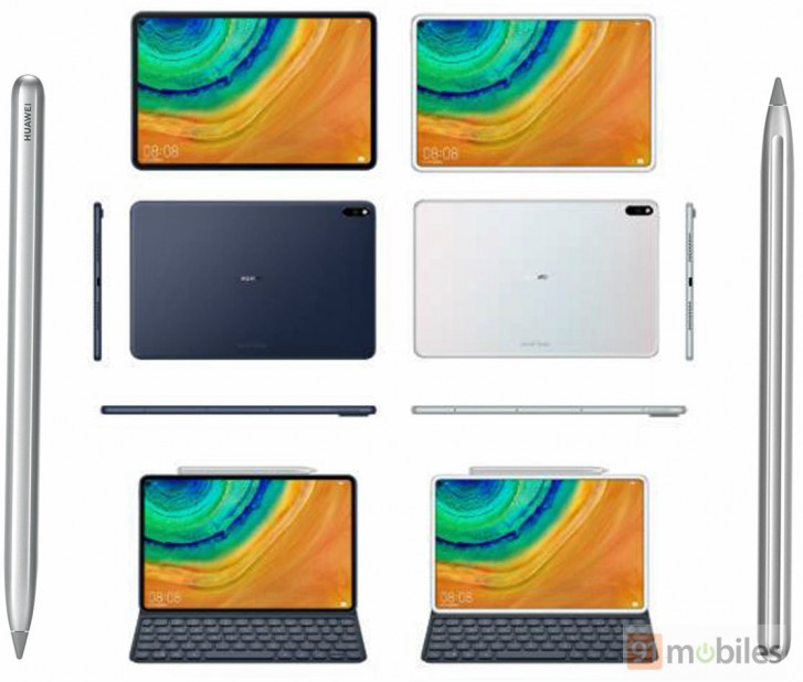 Huawei MediaPad M7 renders show a metal tablet with slimmer bezels and optional stylus and keyboard.